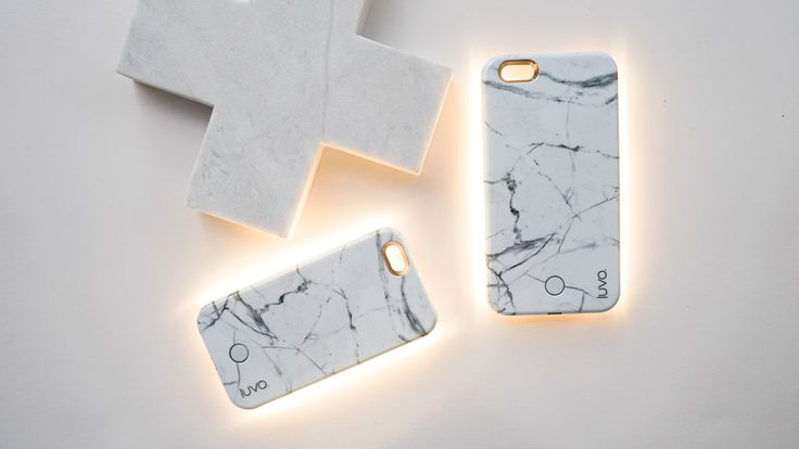 This is the exclusive Marble selfie light up phone case from @luvostore. Available for iPhone 6 and 6+ models.