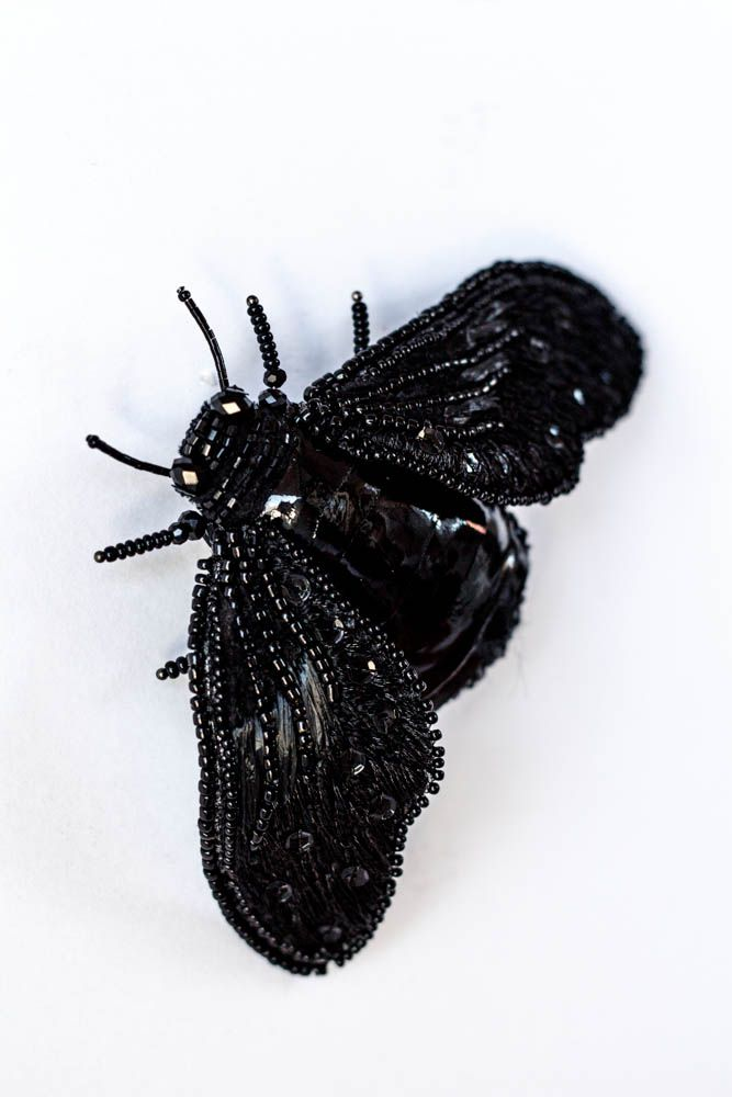 """Unique Brooch """"Black Insect Nero"""" Embroidered brooch"""