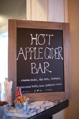 Love this fun 'Hot Apple Cider' bar idea for a fall wedding