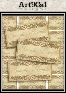 These printable labels add a classy touch to any organizing project. Charming antiqued look in tone on tone light browns these scrolls embellishments decorate spice jars, highlight titles for scrap book or journal diary pages, anything that needs a fancy label. #PrintableLabels #Scrolls #Swirls #FancyOrganization