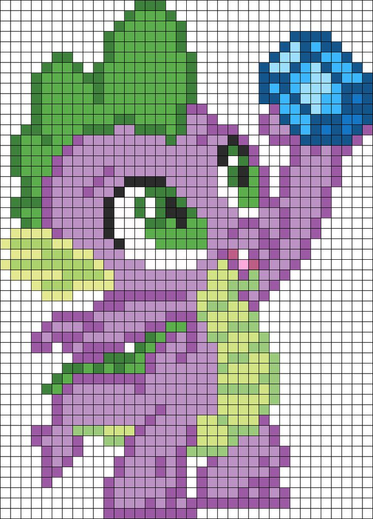 Spike With Lunch Perler Bead Pattern / Bead Sprite