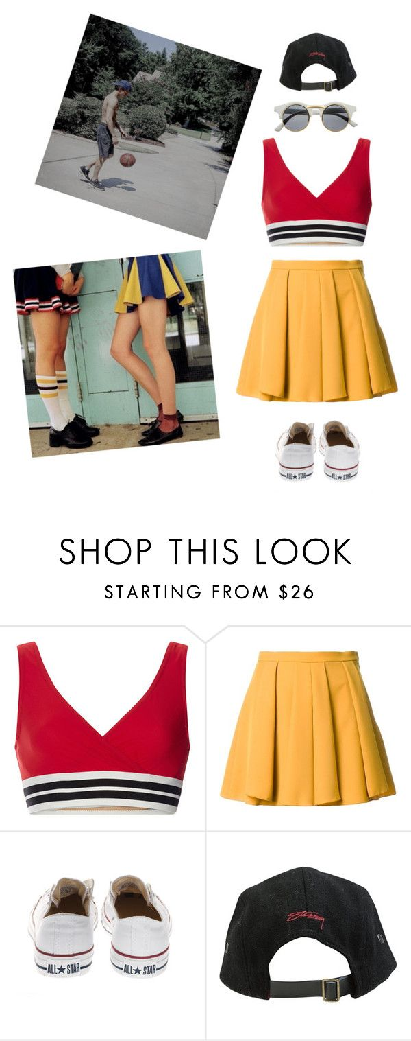 """girlfriend of the captain of the school basketball team"" by asmin ❤ liked on Polyvore featuring Karla Colletto, Guild Prime, Converse, Stussy, Retrò and TomHolland"