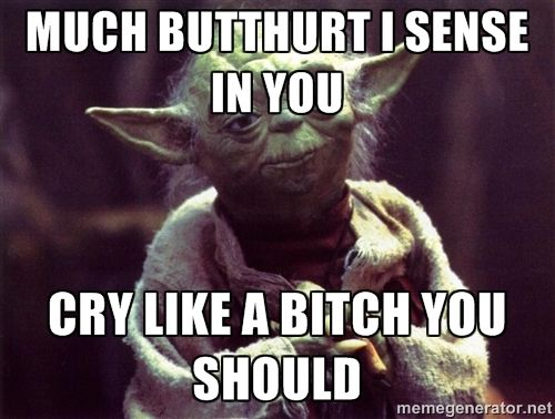 Much butthurt I sense in you Cry like a bitch you should - Yoda | Meme Generator