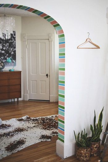 DIY Washi Tape Doorway--I would do different colors for sure.  but great idea for temporary color.