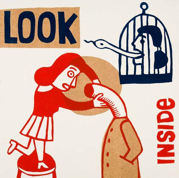 look inside mira en el interior por ARTeFAKTshop en Etsy