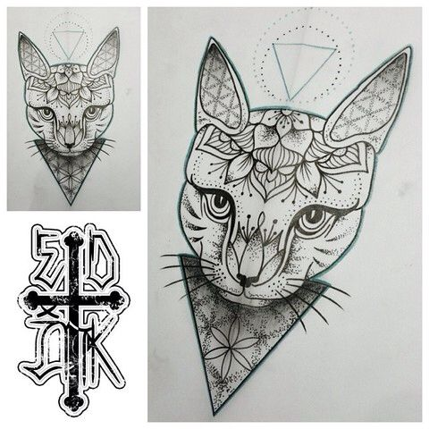 Cat Mandala Tattoo Tats Tattoos Mandala Tattoo Tattoo Designs