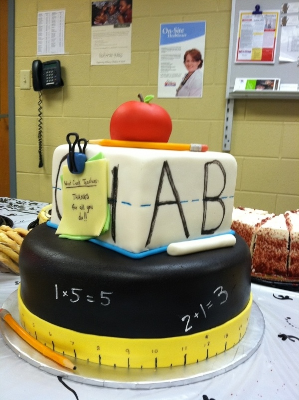 He has his themed cake and I have mine...with a   math problem with our initials or something cheesy :)