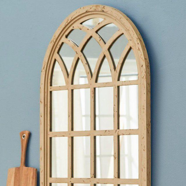 Distressed Finish Cathedral Window Pane Wall Mirror For Sale Image 12 Of 13 Mirror Wall Modern Mirror Wall Black Wall Mirror