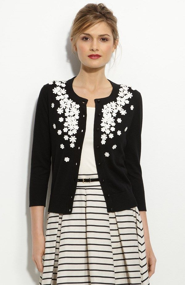 'kati' beaded cardigan vintage preppy cute chic cropped skinny cardigan  with daisy flower embellishment