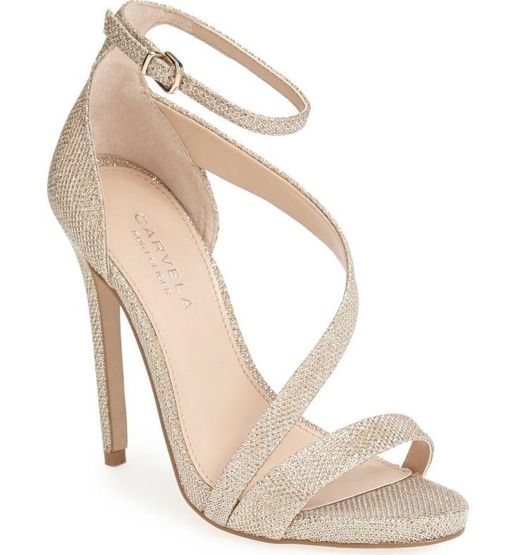"Carvela Kurt Geiger ""Gosh"" gold-shimmery-textile asymmetrical open-toe ankle-strap very-high-heeled sandal"