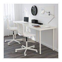 IKEA - LINNMON / ADILS, Table, blanc, , Le long plateau de table permet de créer facilement un espace de travail pour deux.Trous pré-percés pour le montage des pieds.Pieds réglables ; procurent une grande stabilité même sur sols irréguliers.