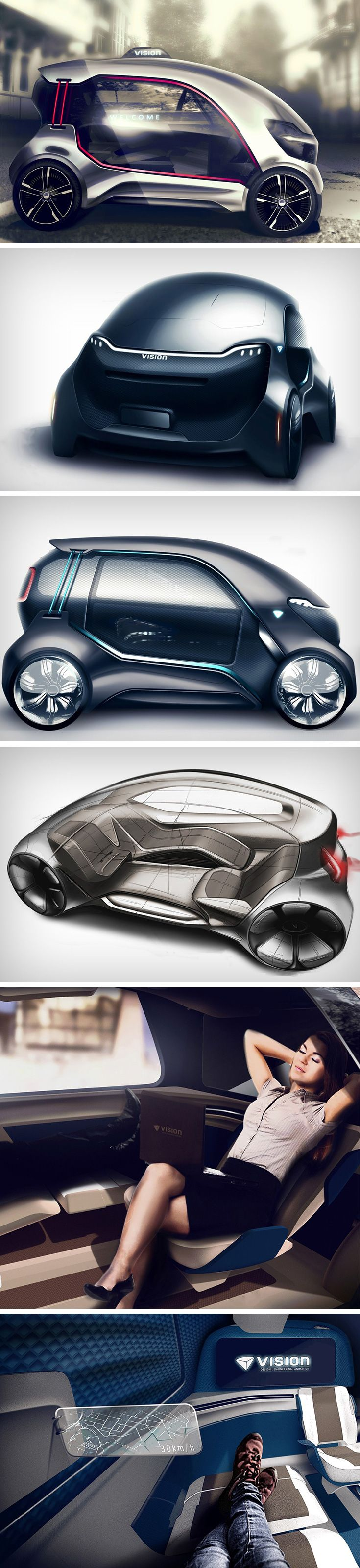 The vision city concept car by guilherme kataoka is designed to make travel a different experience to commuters who will now ride to places instead of to