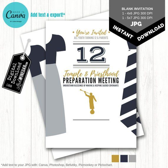 BLANK Temple & Priesthood Preparation Invitation | Navy, Gray, Gold | Canva | LDS Primary Invite | Instant Digital Download 4×6 or 5×7 JPG