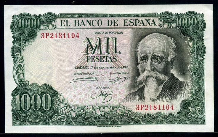 Spain banknotes 1000 Pesetas banknote, José Echegaray & Bank of Spain. - Obverse: Portrait of Jose Echegary. Reverse: Bank of Spain in Madrid. Printed by Fábrica Nacional de Moneda y Timbre, Madrid.