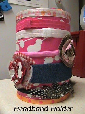 Headband holder that my daughter could use!  Store all other hair stuff inside