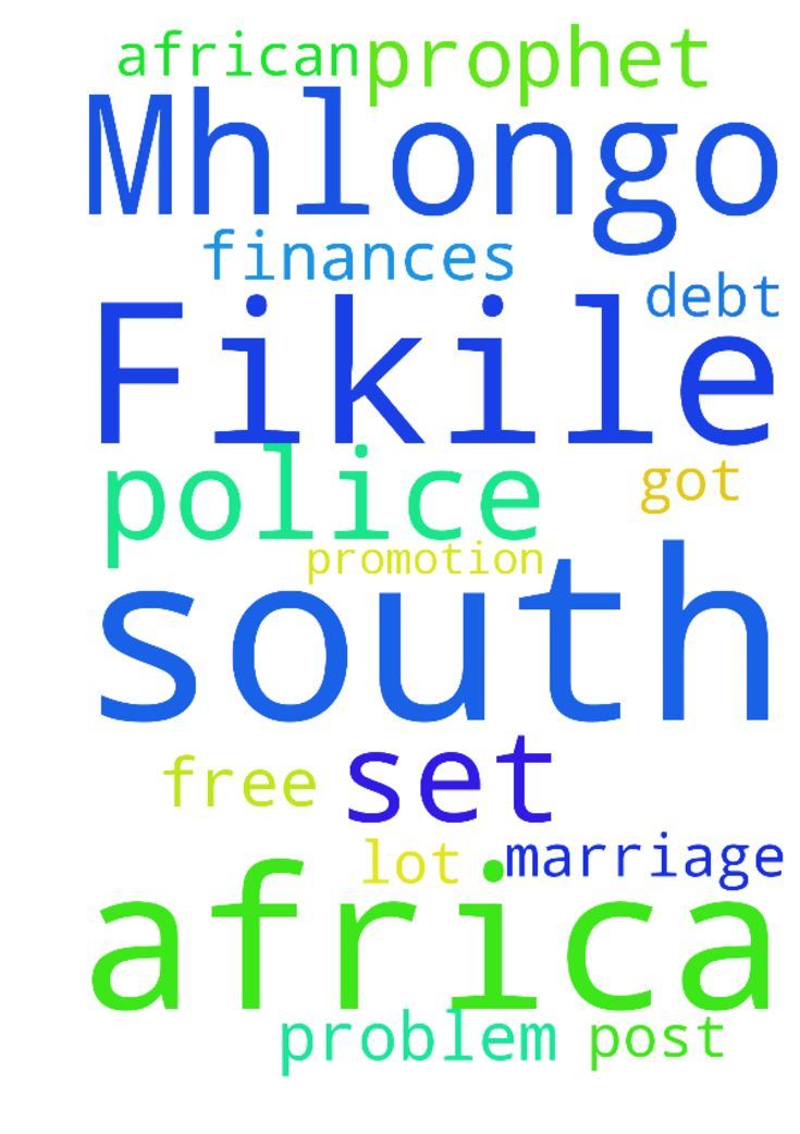 Fikile Mhlongo from South Africa I am - Fikile Mhlongo from South Africa I am request prayer of the Prophet to set me free in finances problem I got a lot of debt. I am request a marriage Post promotion at South African Police in the name of Jesus Posted at: https://prayerrequest.com/t/nhc #pray #prayer #request #prayerrequest