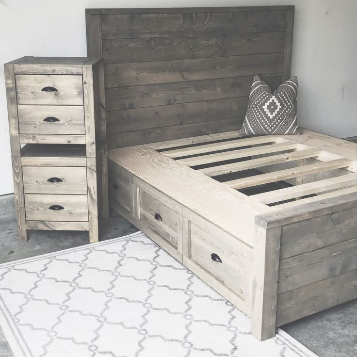 DIY storage bed and nightstand Oak + Stone