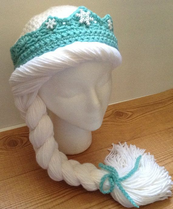 Free Crochet Patterns For Elsa Hats : Crochet Princess Beanie with Braid and removable Tiara ...