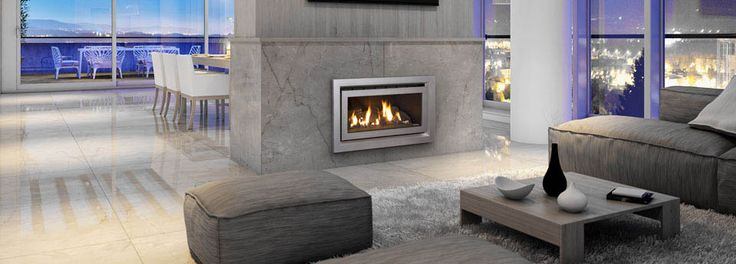 Close up on Escea DL850 gas fireplaces with natural flame display ...