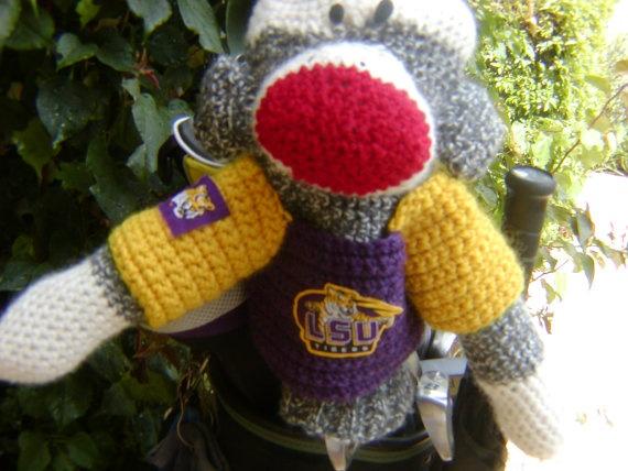 Sock Monkey Golf Club Cover  LSU University of by pillowtalkswf, $40.00