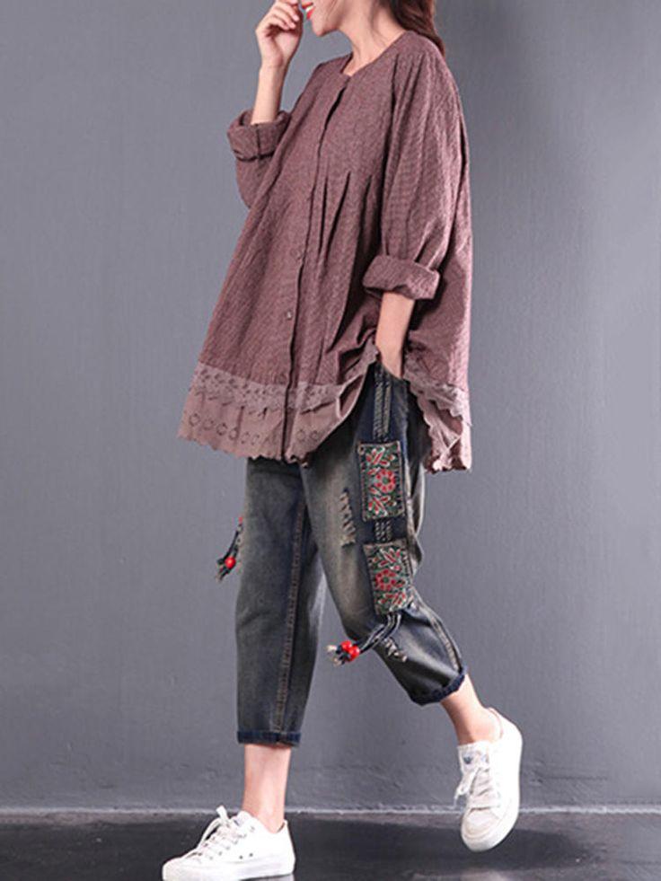 Vintage Women Plaid Lace Patchwork Long Sleeve Blouses at Banggood