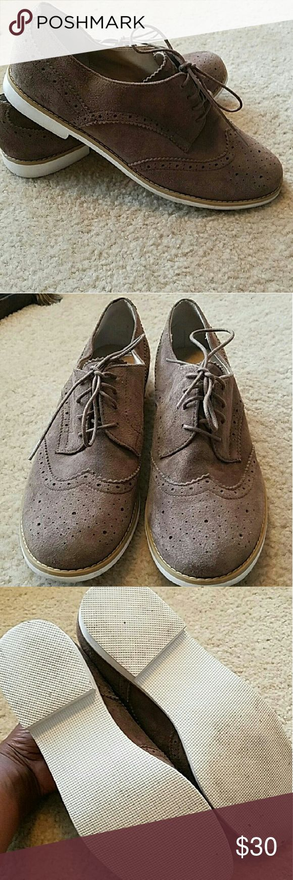 BP Nordstrom Suede Oxfords Taupe, genuine suede leather Oxfords in great condition. bp Shoes Flats & Loafers