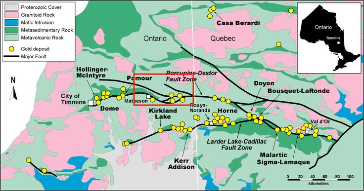 """Found in the Abitibi greenstone is an area called the """"Abitibi Goldbelt"""" that spans the Ontario-Quebec border. The busiest gold production area of Canada has produced hundreds of millions of gold ounces since the first mines started."""