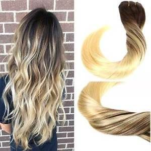 Sunny Balayage Brown with Bleach Blonde Clip in Hair Extensions Real Human Hair #clipinhairextensions