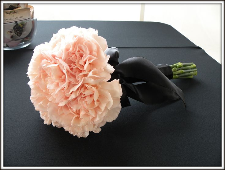 Carnation Bouquet...This is the first time I've ever found carnations this beautiful!  Even better without black ribbon...