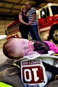 Baby Photography #Firefighter Dad. So cute, but with Dad dressed up in background