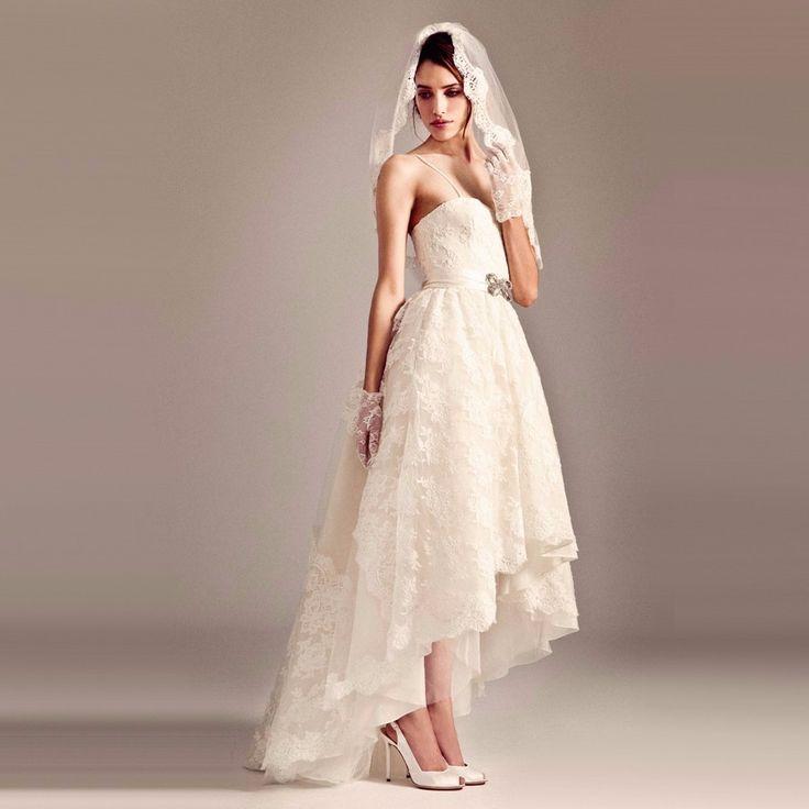 2016 Hoge Lage Trouwjurken Korte Front Lange Back Vintage Een Lijn Sweetheart Mouwloze Robes de Mariag Vestidos de Noiva