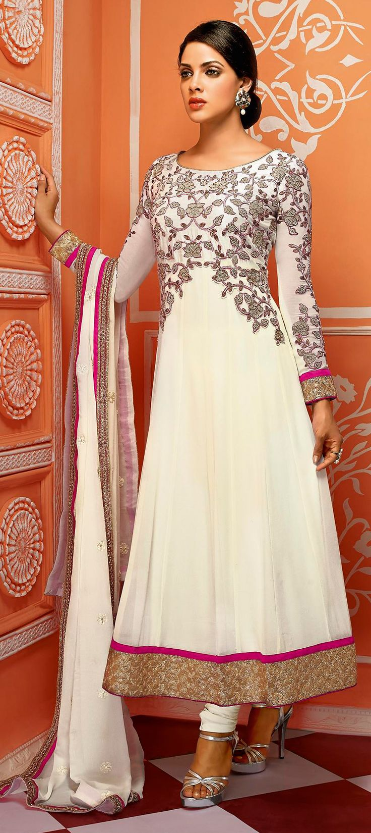 423714: WHITE - new #anarkali in white with floral embroidery. Get your hands on it now!  #partywear #WeddingCouture #sale #indianfashion #onlineshopping