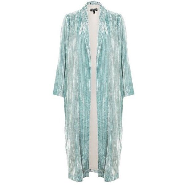 Topshop Velvet Duster Coat (£79) ❤ liked on Polyvore featuring outerwear, coats, duster coat, lightweight coat, velvet coats, topshop coats and green duster coat
