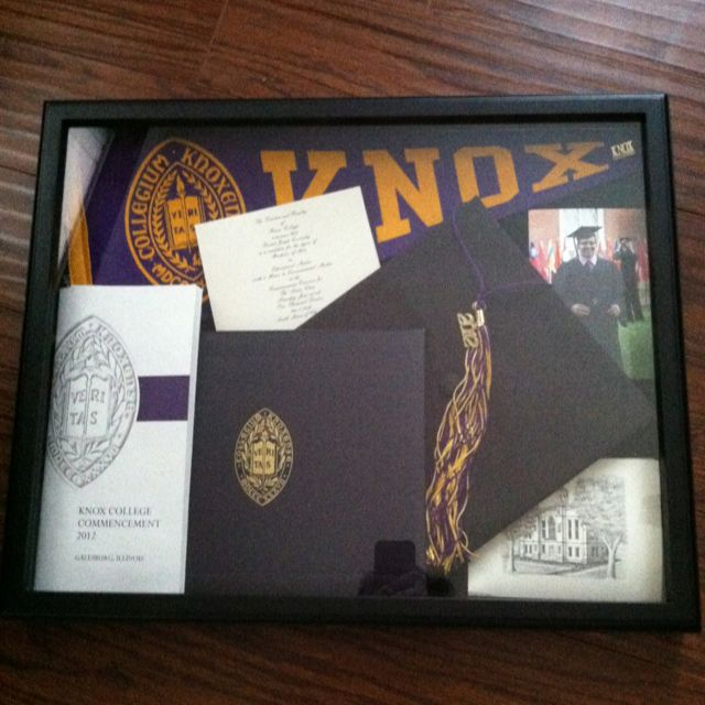 College graduation shadow box--this would be great idea to put up in library room or study that way our graduation stuff just isn't in a box collecting dust--