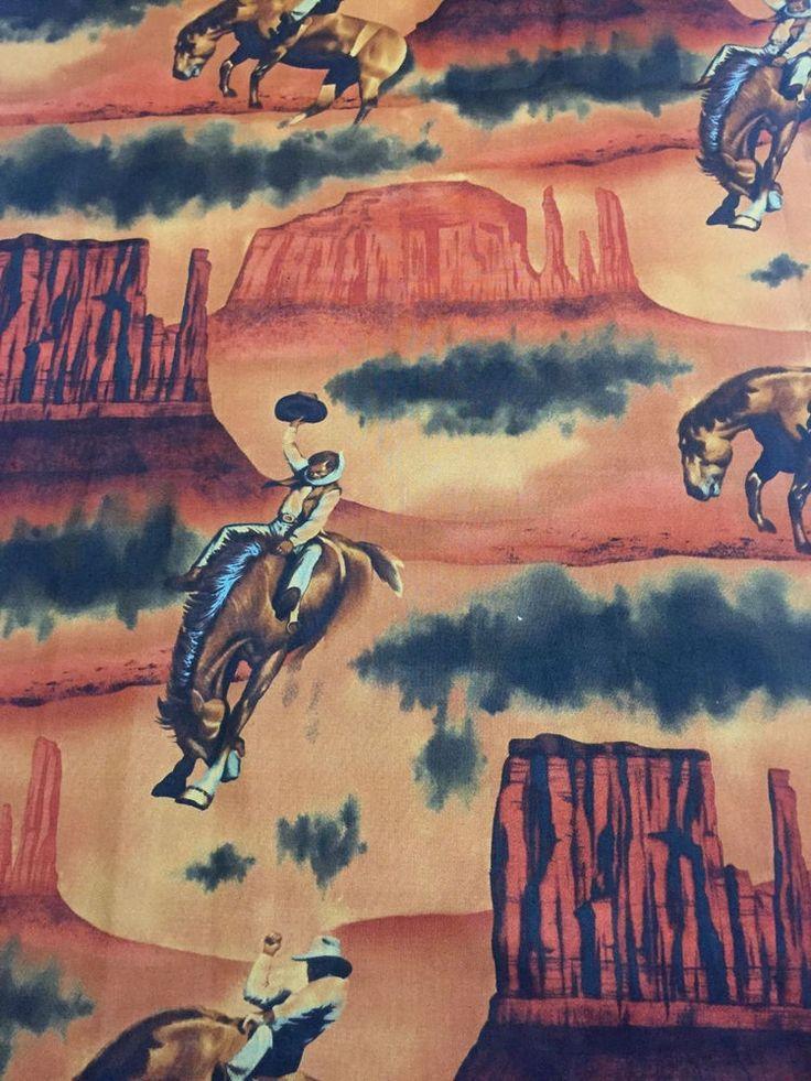 Picacho Peak Alexander Henry 2002 Cotton Fabric Southwest Cowboys Quilt Sew BTY #AlexanderHenry