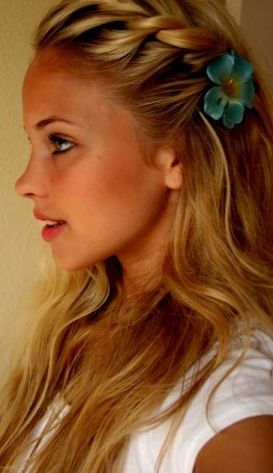Beautiful Braided Hair -- love the flower!