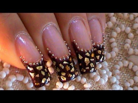 Golden Flakes & Beads Over a Purple French Manicure (+playlist)