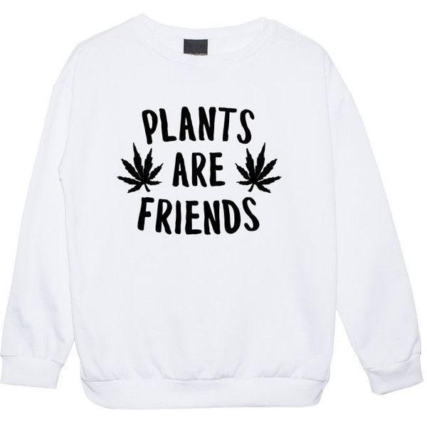 Plants Are Friends Sweater Jumper Funny Fun Tumblr Hipster Swag Grunge... (2.120 ISK) ❤ liked on Polyvore featuring tops, black, sweatshirts, women's clothing, punk tops, hipster tops, gothic tops, star print top and goth tops