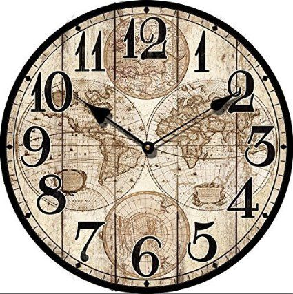 HORLOGE MURALE DESIGN ANTIQUE CARTE DU MONDE SHABBY 30CM NOSTALGIE - Tinas Collection