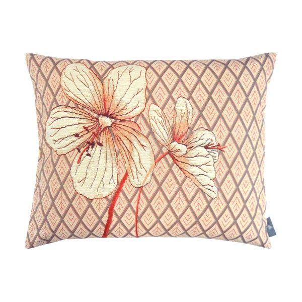 Coussin 40x50cm fleurs rose Géraniums des prés et losanges, rouges - Coussins - Art de Lys cushion