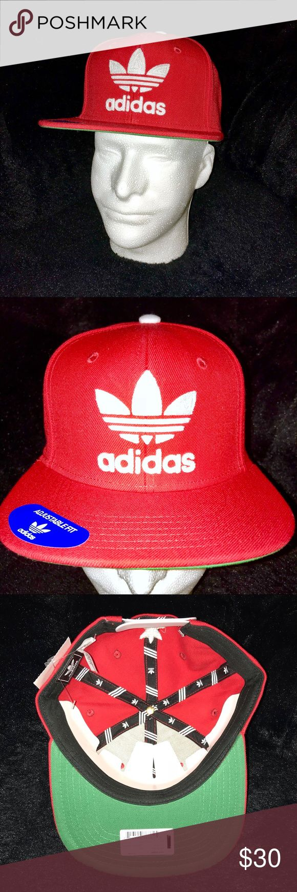NWT! Adidas Originals Trefoil Chain Snapback Hat Brand New With Tags, Stickers, And Cardboard Insert!  Size: One Size Fits Most Color: Scarlet/White Brand: Adidas originals Trefoil Chain Logo Snapback Hat 68% Acrylic, 20% Cotton, 12% Wool Made in China  Hat comes from a smoke and pet free home  Thanks for looking! adidas Accessories Hats