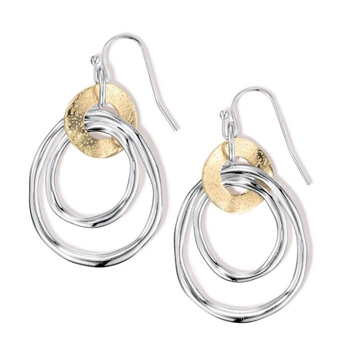 Intricate drop earrings! Linked together, these two smooth, thin,  silvertone hoops run