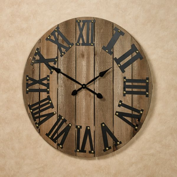 The Wood Plank Wall Clock Tells Time With Rustic Charm In An Openwork Slatted Style The Wooden Wall Clock Fe Oversized Wall Clock Wood Plank Walls Wall Clock