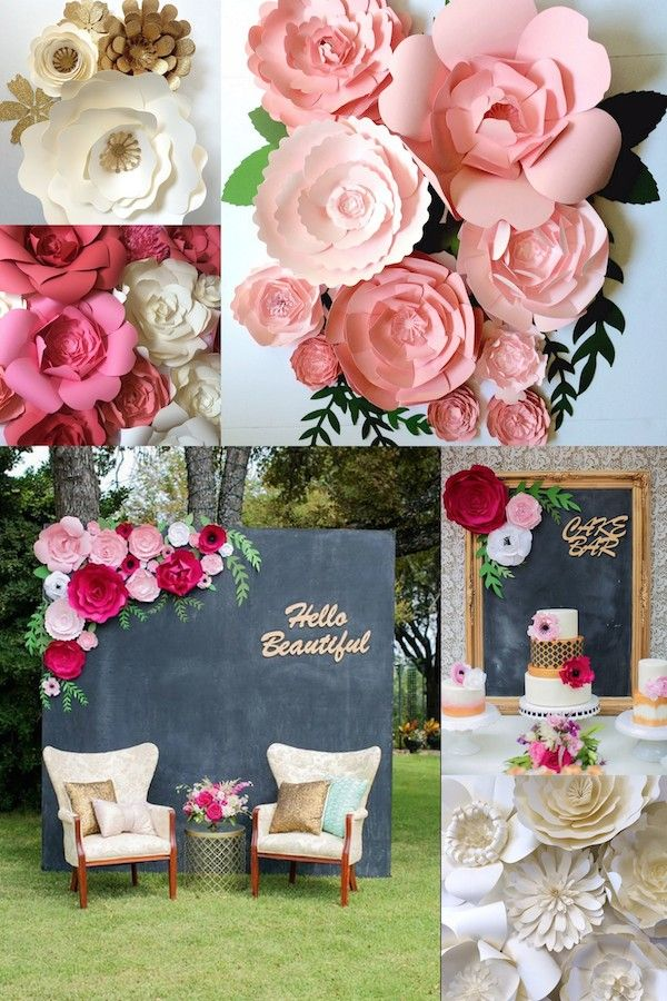 Mid-South Brides feature of Paper flower walls and wedding decor www.paperflora.com