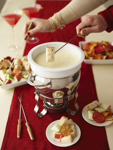 Fun Adult Party Ideas - Redbook - My friends love a cheese or chocolate fondue. Everyone gets involved and are talking together from the start.