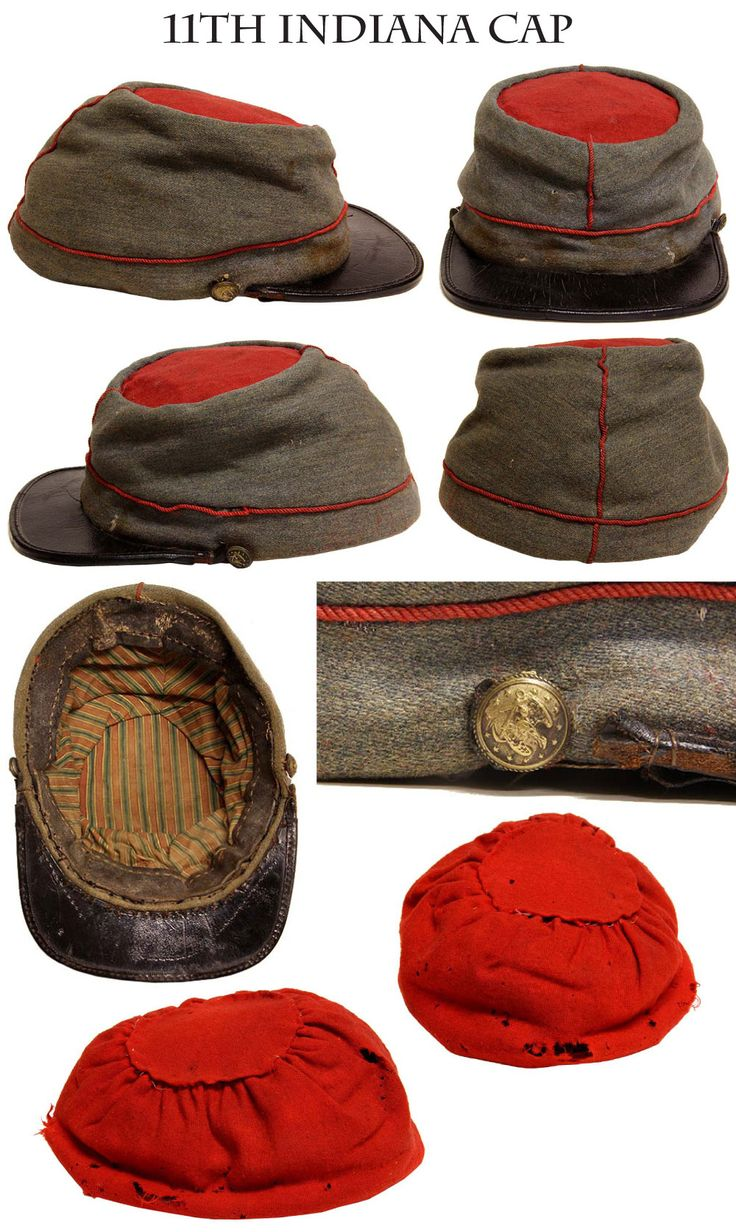 11th Indiana kepi along with its original separate red wool body cover. This is the 1861 era kepi of the regiment… grey wool with red piping. Note the wonderful plaid lining. Another example of this same cap is in the Lew Wallace Study (museum) in Crawfordsville Indiana.