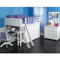 Kong Full Sized Mid High Loft Bed with Angle Ladder