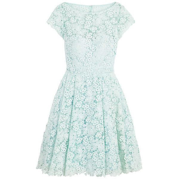 Rental ML Monique Lhuillier Kyoto Bloom Dress ($90) ❤ liked on Polyvore featuring dresses, short dresses, lace dress, open back lace dress, scalloped dress, open back short dresses and mini dress