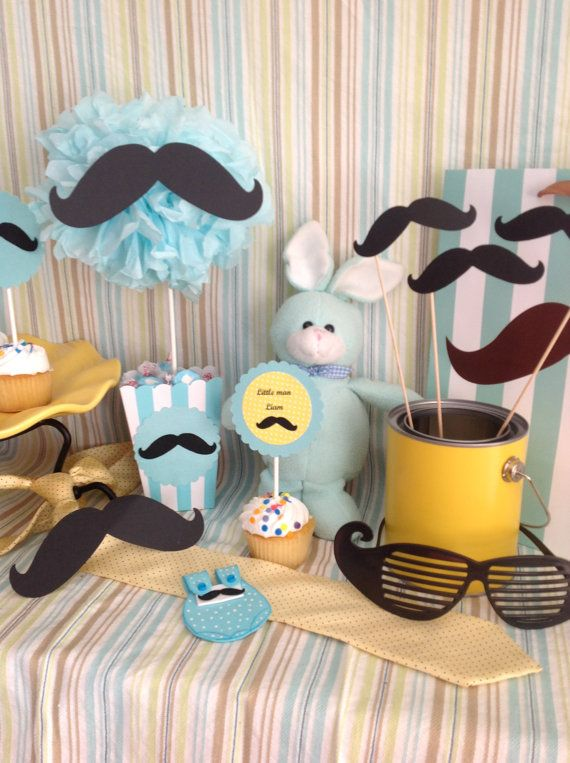 Little Man Mustache Centerpiece TREAT/GOODY by LetsCreateTheMemory