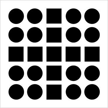 Similarity   Elements that have similar properties are perceived as a group. In the example, we are able to perceive the cross shape, because we group the squares in our perception.